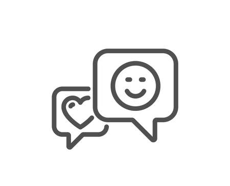 Heart and Smile line icon. Favorite like sign. Positive feedback symbol. Quality design flat app element. Editable stroke Smile icon. Vector