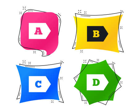 Energy efficiency class icons. Energy consumption sign symbols. Class A, B, C and D. Geometric colorful tags. Banners with flat icons. Trendy design. Vector Illusztráció