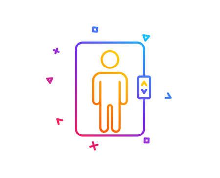 Elevator line icon. Transportation lift sign. Gradient line button. Elevator icon design. Colorful geometric shapes. Vector 일러스트