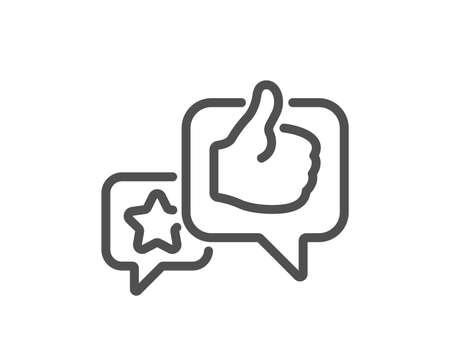 Star, like hand line icon. Feedback rating sign. Customer satisfaction symbol. Quality design flat app element. Editable stroke Like icon. Vector