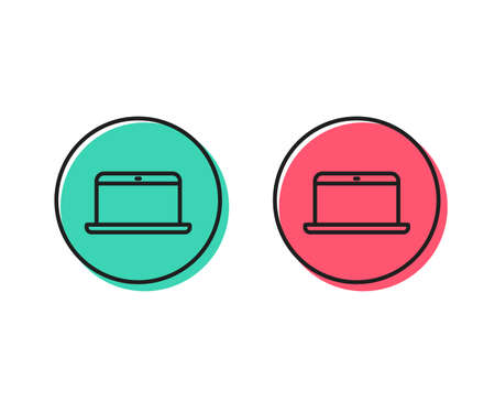 Laptop computer icon. Notebook sign. Portable personal computer symbol. Positive and negative circle buttons concept. Good or bad symbols. Laptop Vector