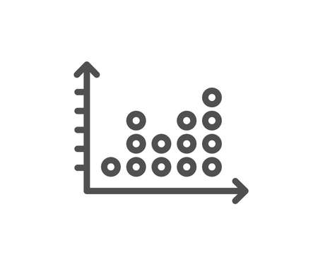 Dot plot graph line icon. Presentation chart sign. Market analytics symbol. Quality design flat app element. Editable stroke Dot plot icon. Vector