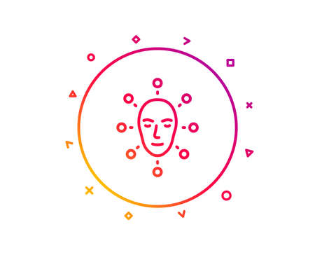 Face biometrics line icon. Facial recognition sign. Head scanning symbol. Gradient pattern line button. Face biometrics icon design. Geometric shapes. Vector