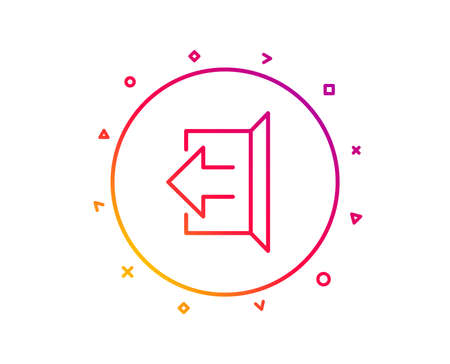 Logout arrow line icon. Sign out symbol. Navigation pointer. Gradient pattern line button. Sign out icon design. Geometric shapes. Vector Illustration