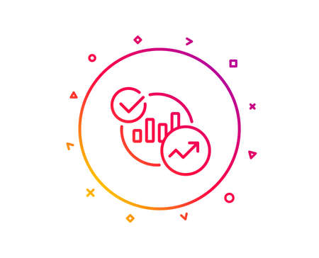 Charts, Statistics line icon. Report graph or Sales growth sign. Analytics data symbol. Gradient pattern line button. Statistics icon design. Geometric shapes. Vector 向量圖像