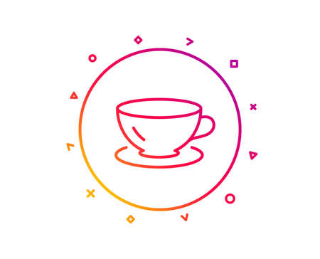 Tea cup line icon. Coffee drink sign. Fresh beverage symbol. Gradient pattern line button. Espresso icon design. Geometric shapes. Vector