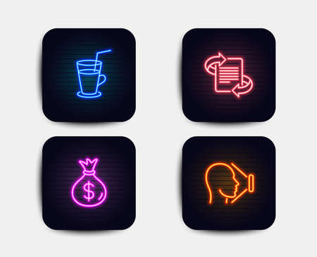 Neon set of Marketing, Cocktail and Money bag icons. Face id sign. Article, Fresh beverage, Usd currency. Identification system. Neon icons. Glowing light banners. Vector