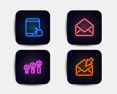 Set al neon di icone di posta, soddisfazione del cliente e tablet pc. Segno di posta aperta. E-mail, grafico Happy smile, gadget touchscreen. Visualizza la posta elettronica. Icone al neon. Banner di luce incandescente. Vettore di posta