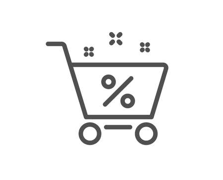 Loan shopping cart line icon. Discount percent sign. Credit percentage symbol. Quality design flat app element. Editable stroke Loan percent icon. Vector Ilustração