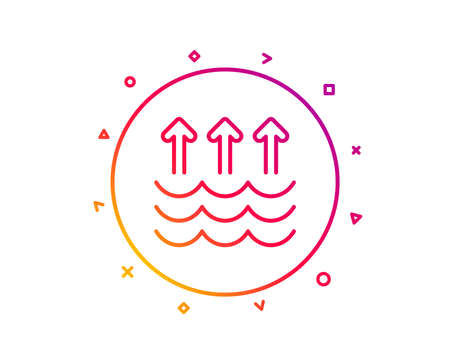 Evaporation line icon. Global warming sign. Waves symbol. Gradient pattern line button. Evaporation icon design. Geometric shapes. Vector Ilustrace