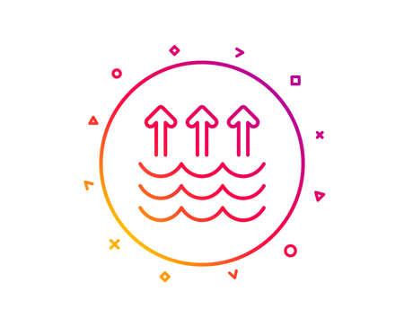 Evaporation line icon. Global warming sign. Waves symbol. Gradient pattern line button. Evaporation icon design. Geometric shapes. Vector Illustration