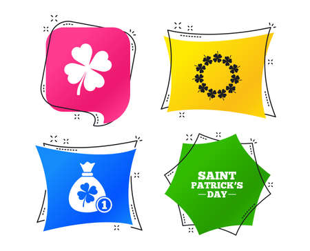 Saint Patrick day icons. Money bag with coin and clover sign. Wreath of quatrefoil clovers. Symbol of good luck. Geometric colorful tags. Banners with flat icons. Trendy design. Vector
