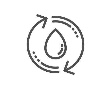 Water drop line icon. Recycle clean aqua sign. Refill liquid symbol. Quality design flat app element. Editable stroke Refill water icon. Vector
