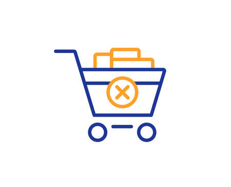 Remove Shopping cart line icon. Online buying sign. Supermarket basket symbol. Colorful outline concept. Blue and orange thin line color icon. Remove purchase Vector