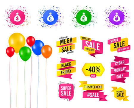 Balloons party. Sales banners. Money bag icons. Dollar, Euro, Pound and Yen symbols. USD, EUR, GBP and JPY currency signs. Birthday event. Trendy design. Vector