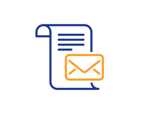 Mail letter line icon. Read Message correspondence sign. E-mail symbol. Colorful outline concept. Blue and orange thin line color icon. Mail letter Vector