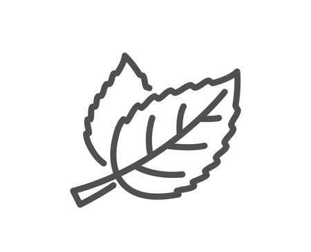 Leaves line icon. Nature plant leaf sign. Environmental care symbol. Quality design flat app element. Editable stroke Leaf icon. Vector