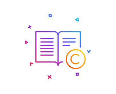 Copyright line icon. Copywriting or Book sign. Feedback symbol. Gradient line button. Copyright icon design. Colorful geometric shapes. Vector Illusztráció