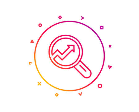 Chart line icon. Report graph or Sales growth sign in Magnifying glass. Analysis and Statistics data symbol. Gradient pattern line button. Analytics icon design. Geometric shapes. Vector