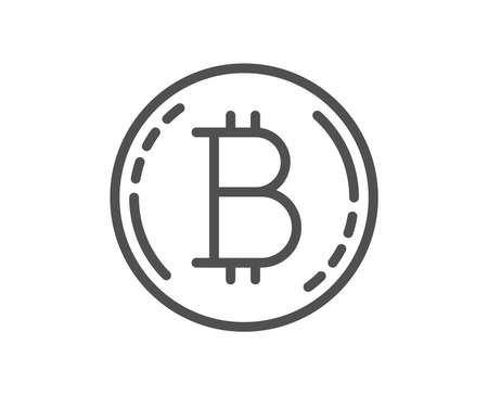 Bitcoin line icon. Cryptocurrency coin sign. Crypto money symbol. Quality design flat app element. Editable stroke Bitcoin icon. Vector
