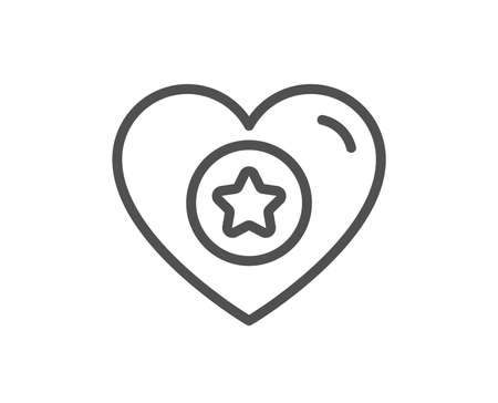 Heart and Star line icon. Favorite like sign. Positive feedback symbol. Quality design flat app element. Editable stroke Heart icon. Vector Illustration