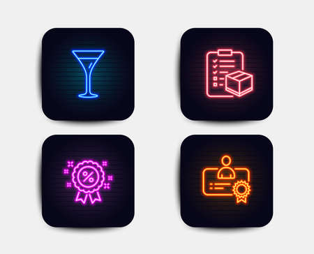 Neon set of Discount, Martini glass and Parcel checklist icons. Certificate sign. Sale shopping, Wine, Logistics check. Best employee. Neon discount icons. Glowing light banners. Vector Illustration