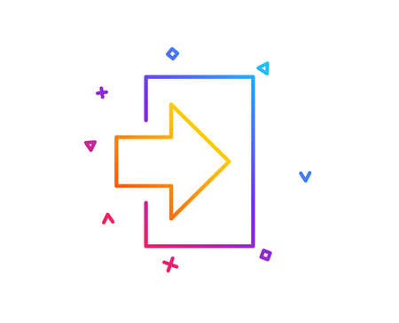 Login arrow line icon. Sign in symbol. Navigation pointer. Gradient line button. Login icon design. Colorful geometric shapes. Vector