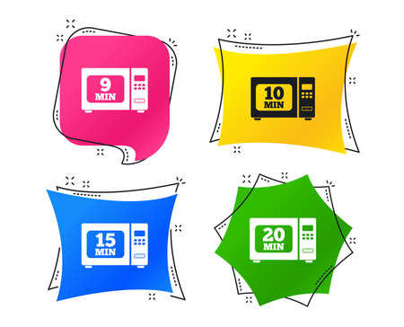 Microwave oven icons. Cook in electric stove symbols. Heat 9, 10, 15 and 20 minutes signs. Geometric colorful tags. Banners with flat icons. Trendy design. Vector Illustration