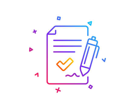 Approved agreement line icon. Sign document. Accepted or confirmed symbol. Gradient line button. Approved agreement icon design. Colorful geometric shapes. Vector Illustration