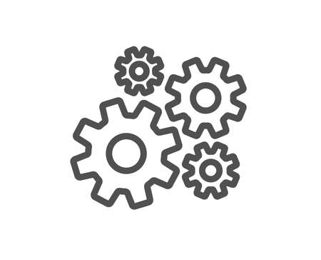 Cogwheel line icon. Engineering tool sign. Cog gear symbol. Quality design flat app element. Editable stroke Cogwheel icon. Vector Archivio Fotografico - 112887091