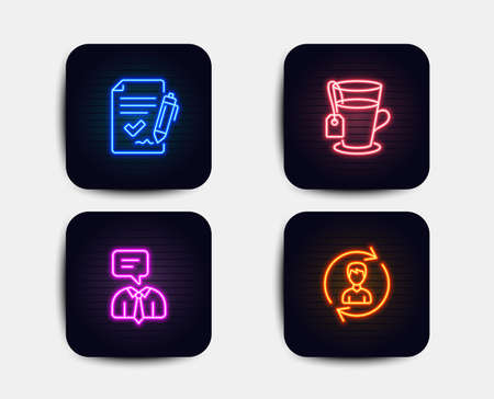 Neon set of Approved agreement, Support service and Tea icons. Human resources sign. Signature document, Human talking, Glass mug. Update profile. Neon icons. Glowing light banners Illustration