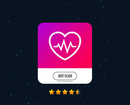 Heartbeat sign icon. Cardiogram symbol. Web or internet icon design. Rating stars. Just click button. Vector Illustration
