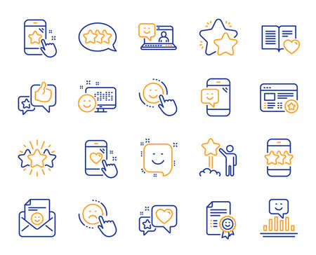 Feedback line icons. Set of User Opinion, Customer service and Star Rating icons. Testimonial, Positive negative emotion, Customer satisfaction. Social media feedback, star rating technology. Vector Stockfoto - 112025338