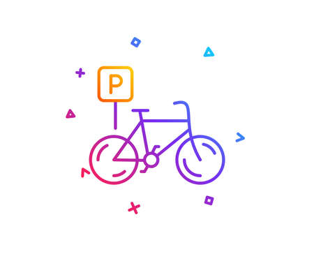 Bicycle parking line icon. Bike park sign. Public transport place symbol. Gradient line button. Bicycle parking icon design. Colorful geometric shapes. Vector 向量圖像