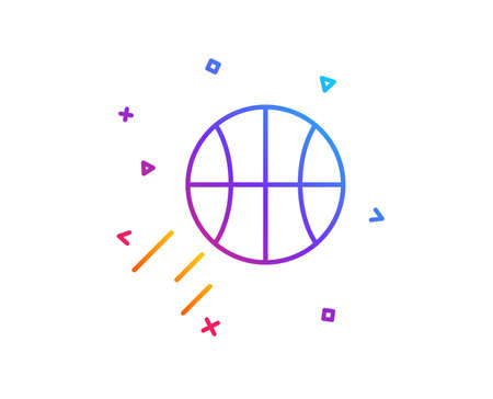 Basketball line icon. Sport ball sign. Competition symbol. Gradient line button. Basketball icon design. Colorful geometric shapes. Vector