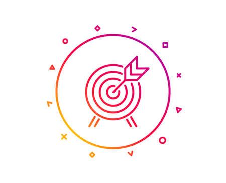 Archery line icon. Amusement park attraction sign. Gradient pattern line button. Archery icon design. Geometric shapes. Vector Illustration