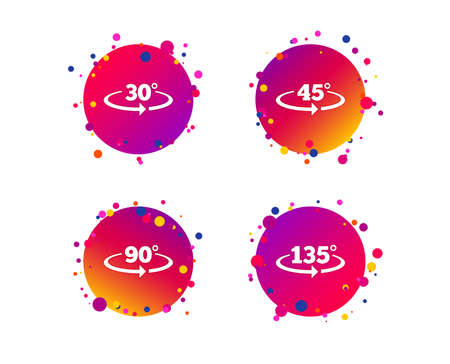 Angle 30-135 degrees icons. Geometry math signs symbols. Full complete rotation arrow. Gradient circle buttons with icons. Random dots design. Angle vector