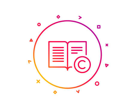 Copyright line icon. Copywriting or Book sign. Feedback symbol. Gradient pattern line button. Copyright icon design. Geometric shapes. Vector