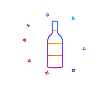 Wine bottle line icon. Merlot or Cabernet Sauvignon sign. Gradient line button. Wine bottle icon design. Colorful geometric shapes. Vector