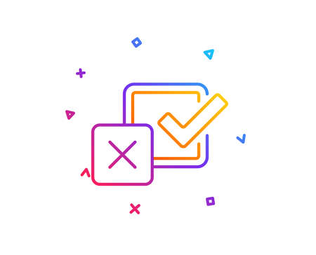 Checkbox line icon. Survey choice sign. Business review symbol. Gradient line button. Checkbox icon design. Colorful geometric shapes. Vector