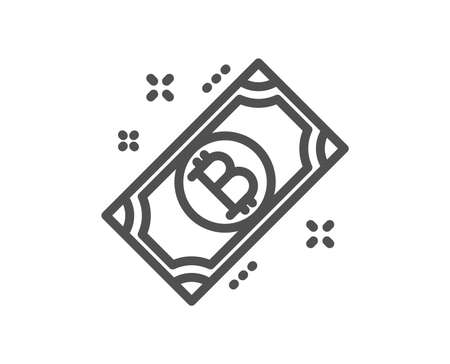 Bitcoin line icon. Cryptocurrency cash sign. Crypto money symbol. Quality design flat app element. Editable stroke Bitcoin icon. Vector