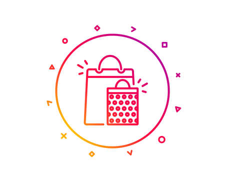 Shopping bags line icon. Sale Marketing symbol. Special offer sign. Gradient pattern line button. Shopping bags icon design. Geometric shapes. Vector