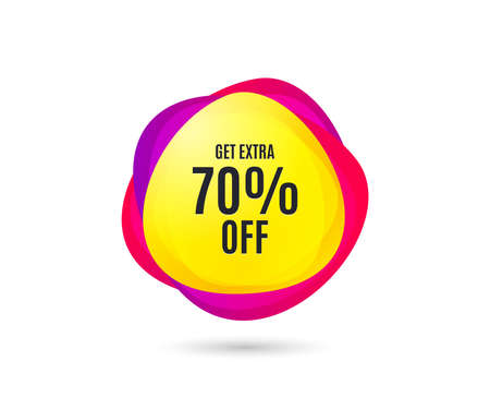 Get Extra 70% off Sale. Discount offer price sign. Special offer symbol. Save 70 percentages. Gradient sale tag. Abstract shopping banner. Template for design. Vector Иллюстрация