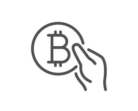 Bitcoin pay line icon. Cryptocurrency coin sign. Crypto money symbol. Quality design flat app element. Editable stroke Bitcoin pay icon. Vector