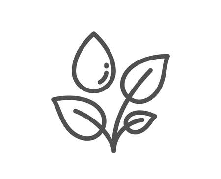 Plants watering line icon. Leaves dew sign. Environmental care symbol. Quality design flat app element. Editable stroke Plants watering icon. Vector