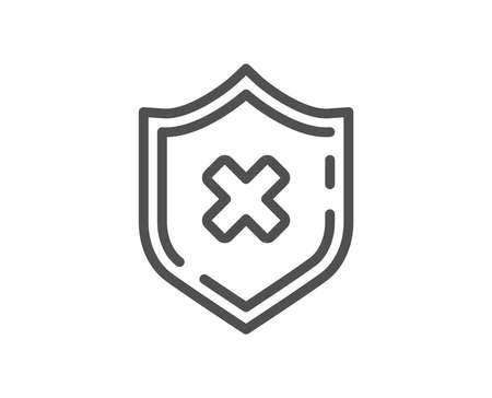 Symbol für die Schutzlinie ablehnen. Schildschild ablehnen. Keine Sicherheit. Flaches App-Element für hochwertiges Design. Bearbeitbarer Strich Schutzsymbol ablehnen. Vektor