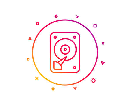 HDD icon. Hard disk storage sign. Hard drive memory symbol. Gradient pattern line button. HDD icon design. Geometric shapes. Vector