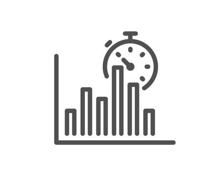 Report timer line icon. Column graph sign. Growth diagram chart symbol. Quality design flat app element. Editable stroke Report timer icon. Vector