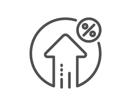 Loan percent growth line icon. Discount sign. Credit percentage symbol. Quality design flat app element. Editable stroke Loan percent icon. Vector  イラスト・ベクター素材