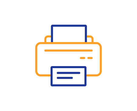 Printer icon. Printout Electronic Device sign. Office equipment symbol. Colorful outline concept. Blue and orange thin line color icon. Printer Vector 向量圖像